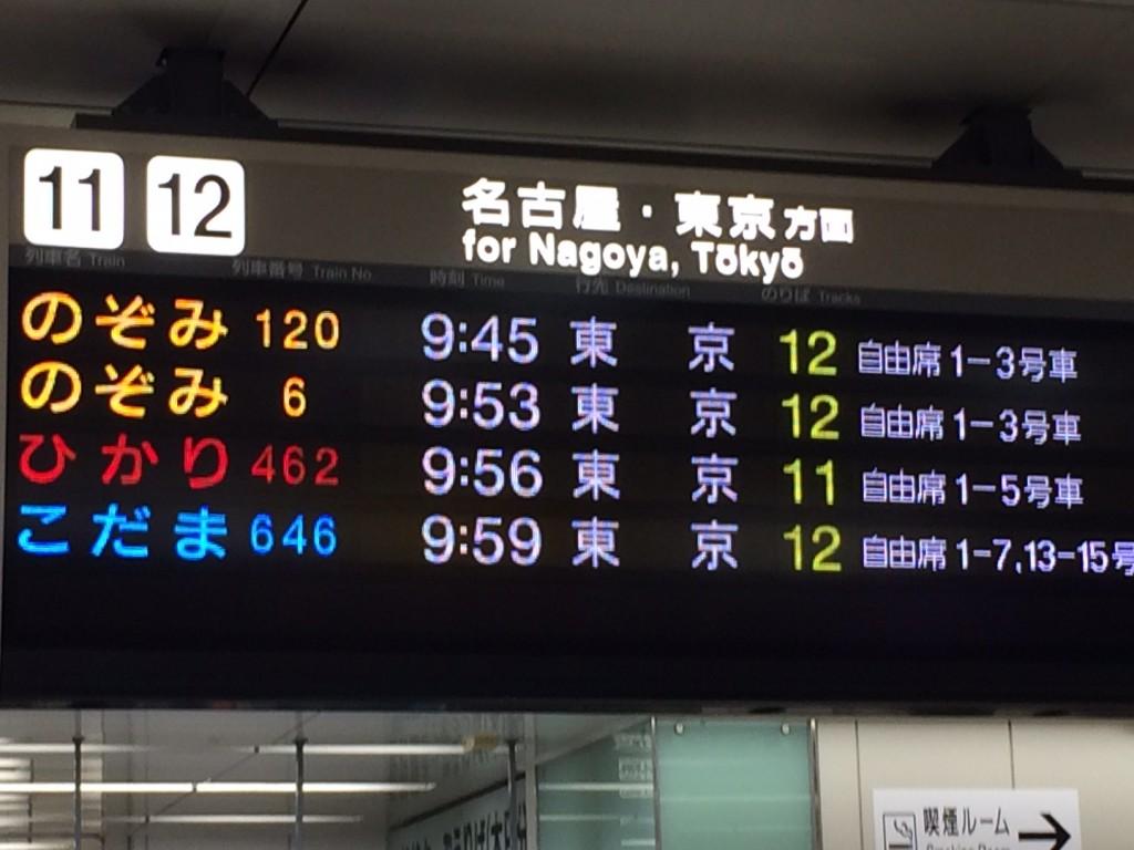 新幹線京都駅行先表示